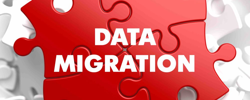 Data Migration on Red Puzzle on White Background.